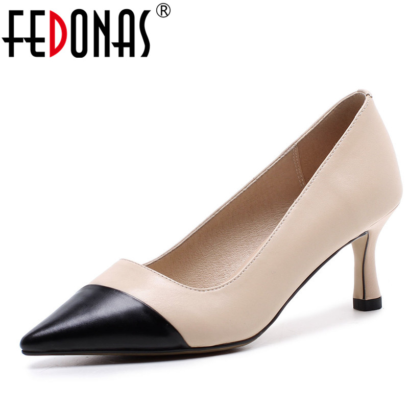 FEDONAS Brand Design Women Genuine Leather Shoes Woman High Heeled Spring Summer Pumps Pointed Toe Pacthwork Wedding Party Shoes стоимость
