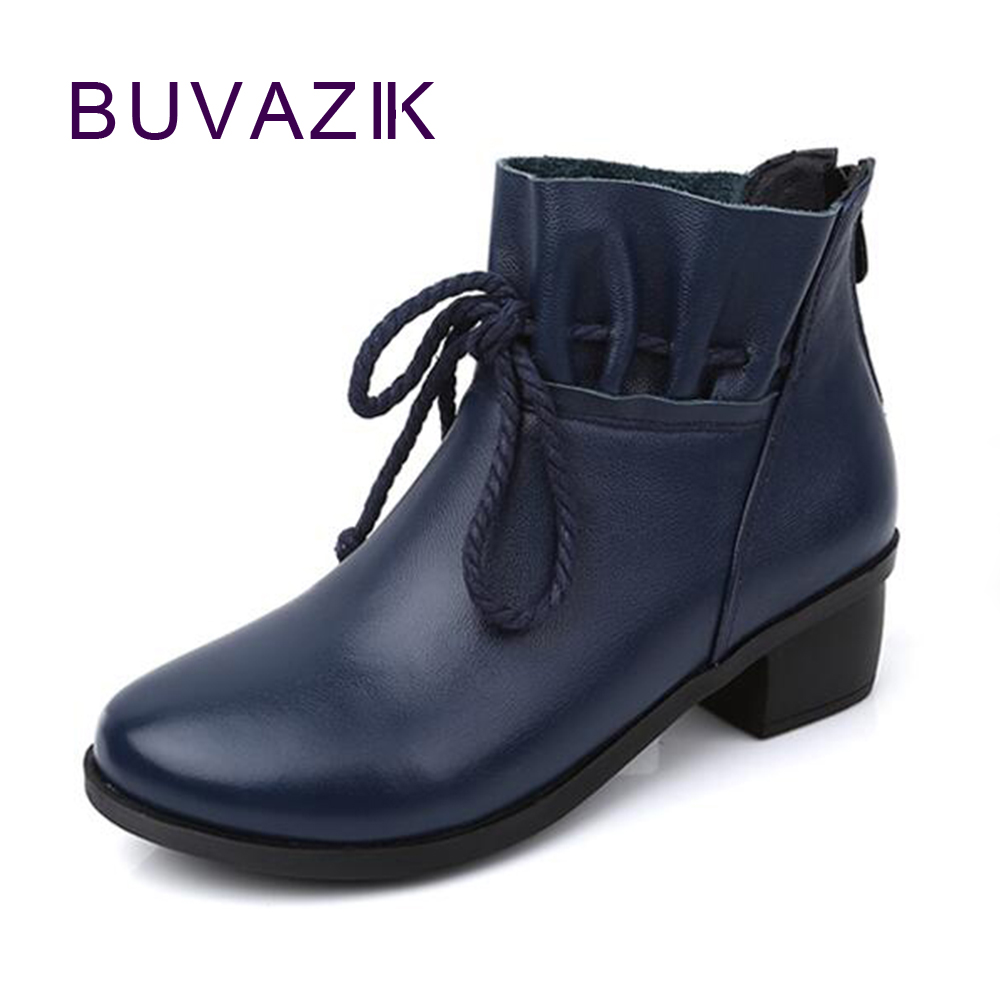 2017 winter women's ankle boots genuine leather female warm shoe big large size 41 42 soft breathable new fashion snow botas 2017 female warm snow boots large size 41 cotton winter shoe for woman soft comfortable outdoor footwear high quality