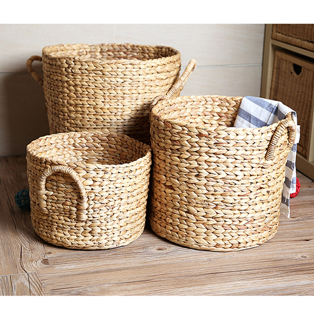 Natural Seagrass Storage Basket Box With Handle Laundry Toy Organizer Medium