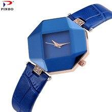 Новый Для женщин модные роскошные часы бренда наручные часы восьмиугольная ромб Повседневное браслет Кварцевые часы Для женщин Montre Femme pinbo