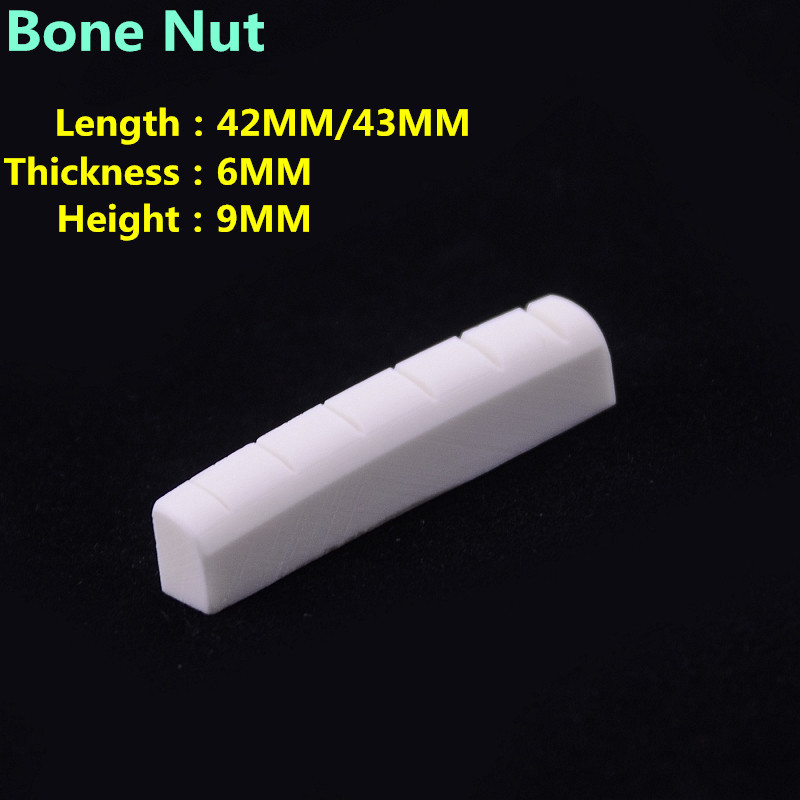 1 Piece  GuitarFamily Real Slotted  Bone Nut For Folk  Acoustic Guitar / Electric Guitar   42MM/43MM*6MM*9MM two way regulating lever acoustic classical electric guitar neck truss rod adjustment core guitar parts