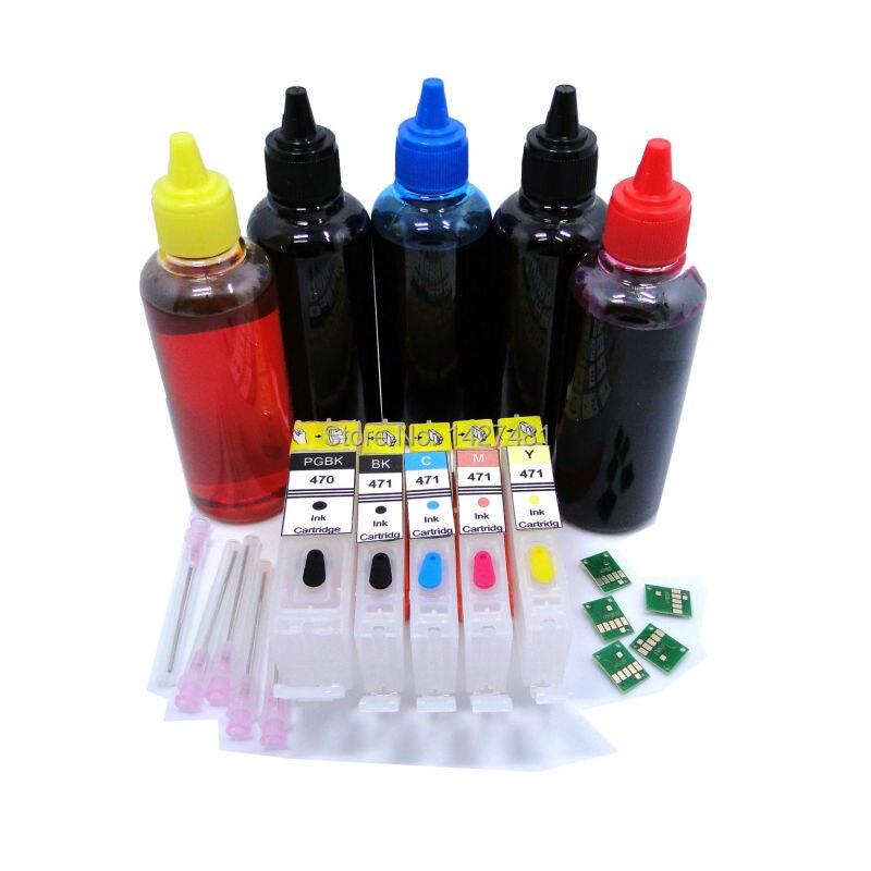 5 * Refill Dye ink + Refillable inkjet cartridge For Canon PGI-470 CLI-471 PGI470 PGI 470 CLI 471 For Canon PIXMA MG5740 MG6840
