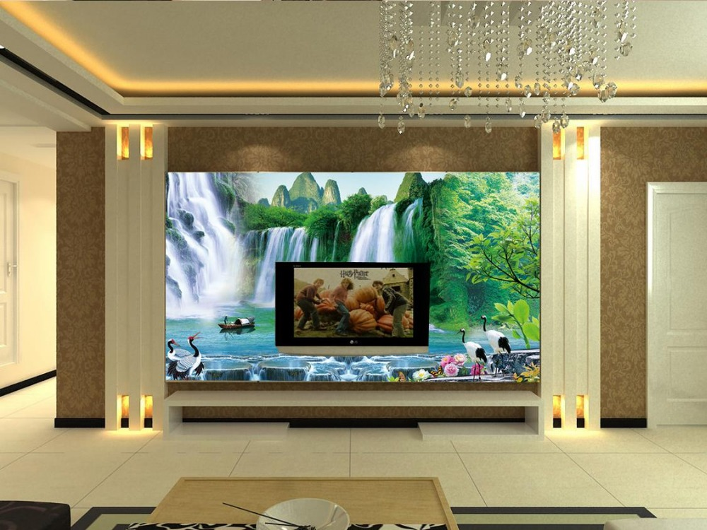Modern Living Room Murals online get cheap waterfall mural wallpaper -aliexpress