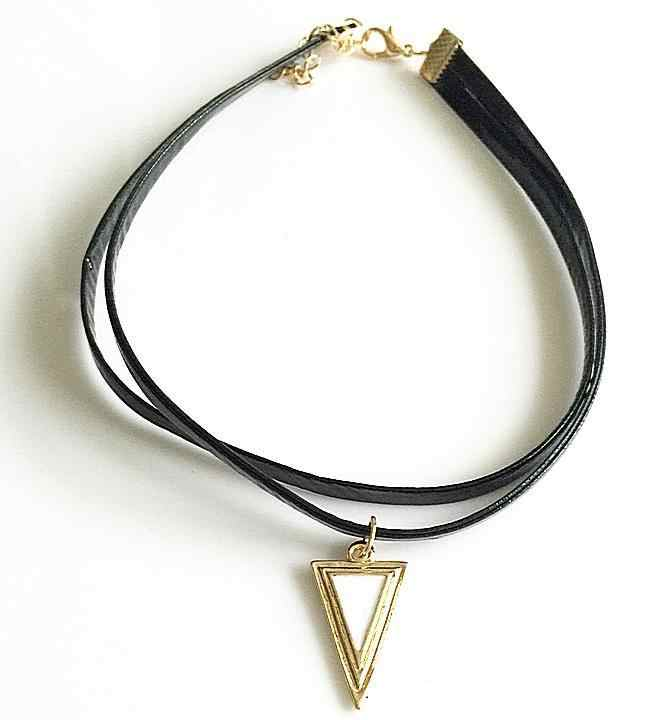 Ethnic Jewelry Vintage Bohemian Metal Triangle Stone Collar Women Leather Choker Necklace Velvet Punk Goth Black Gold Necklaces
