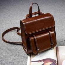 цена на 2019 Vintage Genuine Leather School Bags For Women Backpack Luxury Brand Designer Ladies Shoulder Rucksack Waterproof Travel Bag