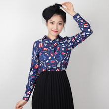 FREE SHIPPING 2016 Spring New Arrival Vintage Casual Blue Long Sleeve POLO Collar Cotton Shirt Women Blouse Clothes SY610205