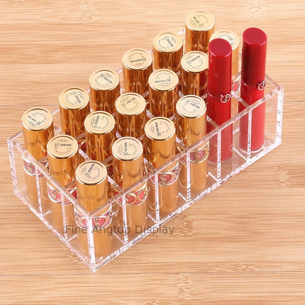 Acrylic Jewelry Storage Box Lipstick Display Stand Organizer Tray With 18 Compartments