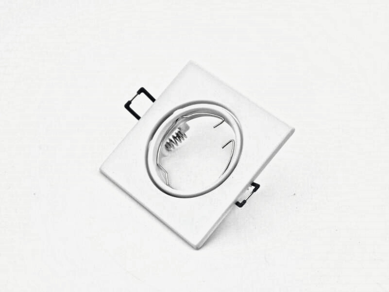 Square Recessed LED Ceiling Light Adjustable Frame For MR16 GU10 Bulb White Fixture Housing