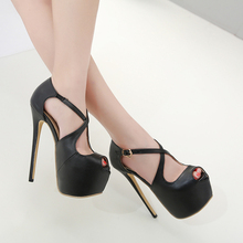 Купить с кэшбэком 2019 Sexy Shoes High Heels 16 cm Women Pumps Cross-tied Buckle Platform Heels Lady Pumps Nightclub Open Toe Fish Mouth Stilettos