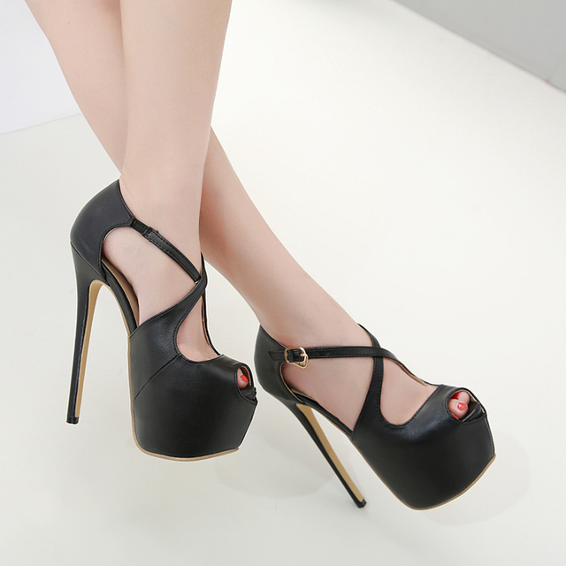 2019 Sexy Shoes High Heels 16 cm Women Pumps Cross-tied Buckle Platform Heels Lady Pumps Nightclub Open Toe Fish Mouth Stilettos