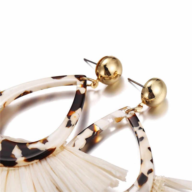 17KM Bohemia Resin Raffia Earrings For Women Ethnic Geometric Drop Dangle Earring Tassel 2019 New Female Fashion Jewelry
