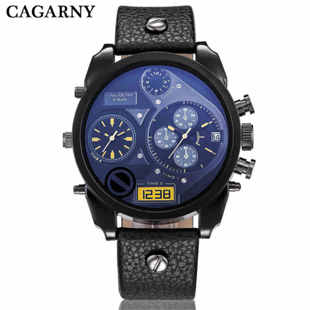 CAGARNY Military Watches Men Leather Watchband For Boys Sports Watches Two Times Zone Hot Sale Electronics Male Hand Wristwatch