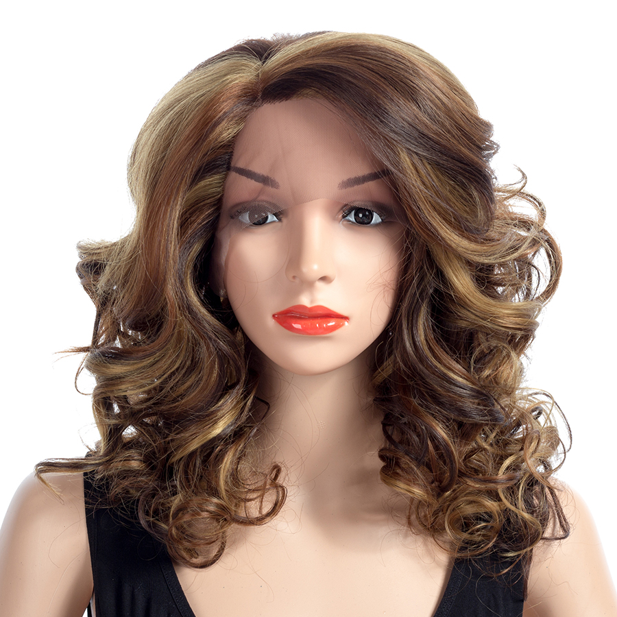 Bling Hair 18inch Curly Synthetic Lace Wigs Blonde Brown Fashion Wigs for Women Heat Res ...
