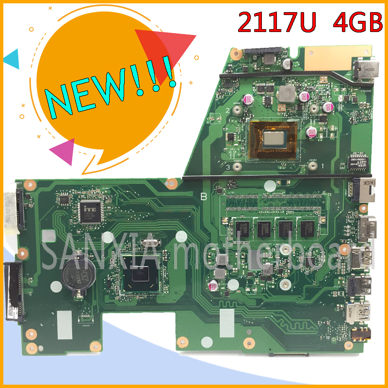 SHELI original X551CA motherboard for ASUS X551CA F551C F551CA laptop motherboard tested mainboard 2117U 4GB RAM rev2.2 notebook original kefu x551cap for asus x551ca f551ca laptop motherboard f551ca mainboard rev2 1007u 4gb tested 100% work freeshipping