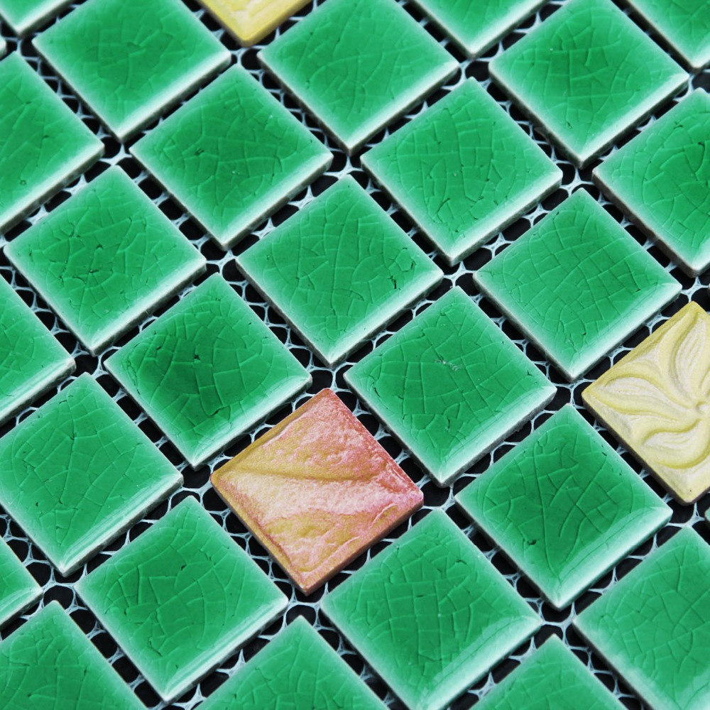 Green Square Ceramic Mosaic Tile