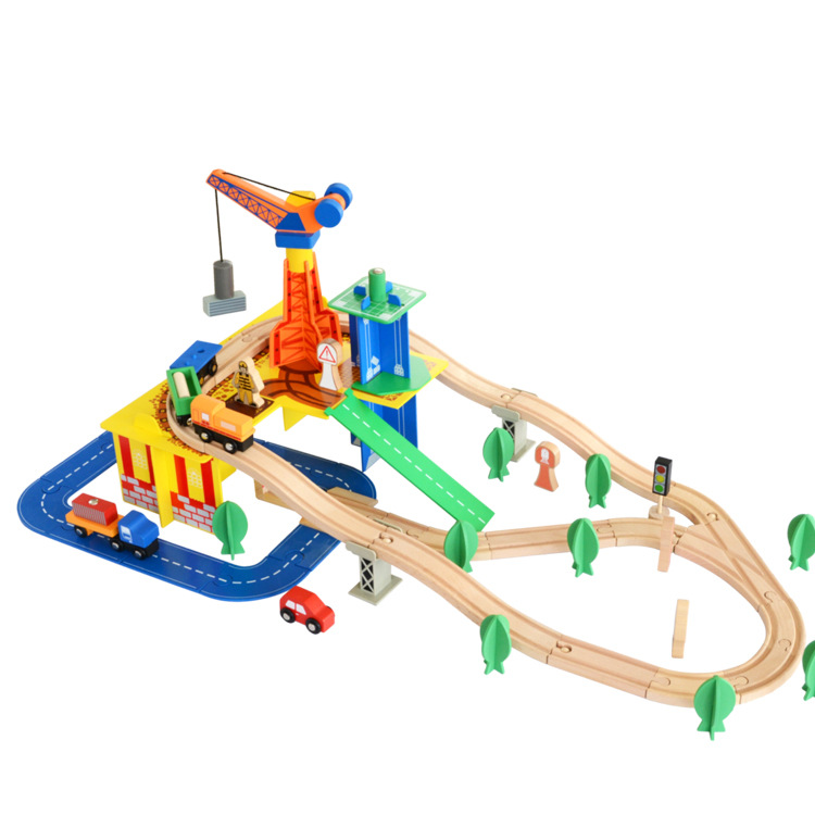 80 Pcs/Set Children Toys Wooden Early Childhood Educational Toys Oyuncak Train Cars Hand Crafted Wooden Train Set Railway Track