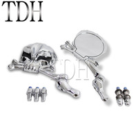 Skull Style Aluminum Chrome Mirrors Motorcycle Rear View Mirror Universal For Honda Suzuki Kawasaki Yamaha Vintage Cruiser