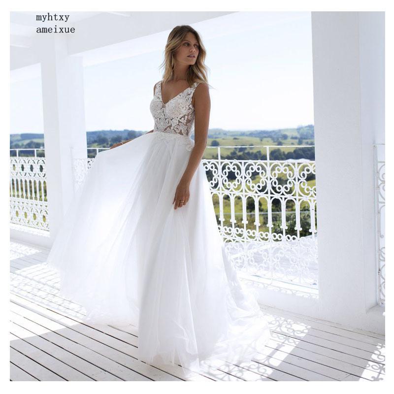 Big Discount Boho Wedding Dress 2019 Appliqued Floor Length