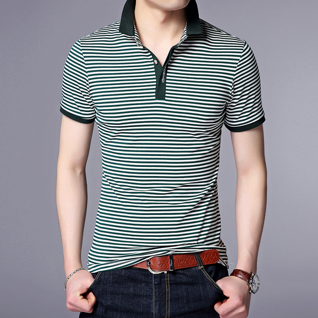 72323f30b 2019 New Fashion Brands Designer Polo Shirt Men Striped Summer Short  SleeveSlim Fit Top Grade Poloshirt Casual Mens Clothing