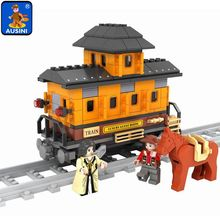 Model building kits compatible with lego train rails traffic 215 3D blocks Educational mod
