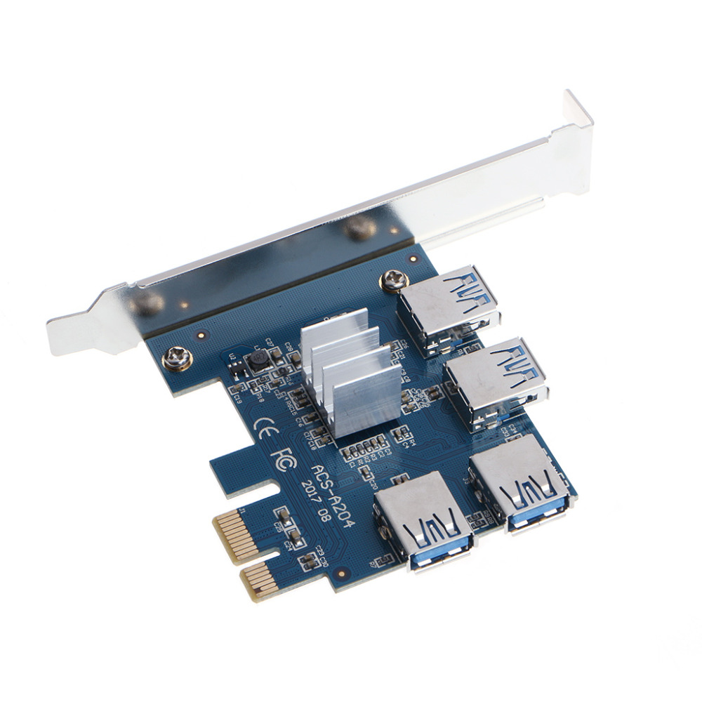 PCI-E to PCI-E Adapter 1 Turn 4 PCI-E Slot One to Four USB 3.0 Mining Special Riser Card #H029#