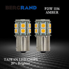 2Pcs Mobil 1156 P21W BA15s LED Lampu Parkir 5050 15LED Amber Rem Sinyal Belok Lampu LED Bulb Mobil styling(China)