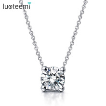 Teemi Female OL Style Beautiful Rose Gold Plated 4 Prongs 7mm Round CZ Stone Pendant Necklace For Women Fashion Bijoux