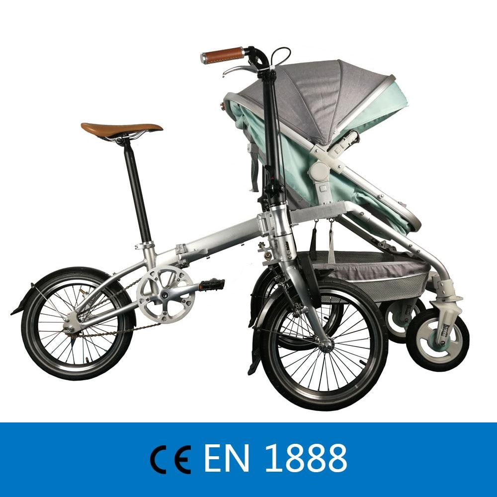 Di ricreazione Genitore-bambino Bicicletta Pieghevole Cruiser bici Pedicab per la Madre e Del Bambino, Genitore-bambino Della Bici, 2 in 1 Bambino Passeggino