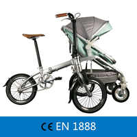 Recreational Parent-child Folding Bicycle Cruiser bike Pedicab for Mother & Baby, Parent-child Bike, 2 in 1 Baby Stroller