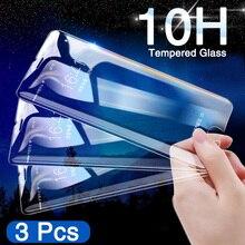 Película de vidro temperado para iphone, protetor de tela em vidro temperado hd para iphone 6 6s 7 8 plus 3 pçs película de vidro protetora xs max xr 5 5S se 10h