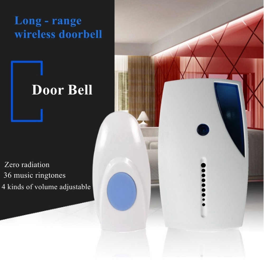 LED Smart LED Wireless Doorbell 36 Tunes Chime Music Door Bell Transmitter + Receiver 70-110 M ระยะไกลควบคุม CA