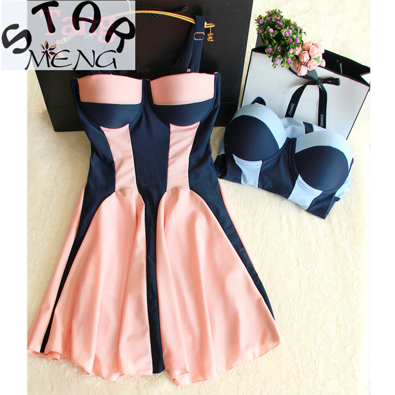 STAERK new trajes de bano thin color stereo clipping gather strip steel support big skirt type pants siamese swimsuit female spa chinese style swimsuit large scalloped floral bikinis cover belly thin waist gather steel support small chest spa swimwear