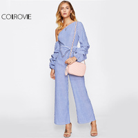 COLROVIE Asymmetrical One Shoulder Off Jumpsuit Women Stripe Gathered Sleeve Sexy Jumpsuits 2017 Elegant Bow High