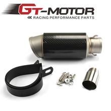 GT Motor Universal Motorcycle Full Carbon Fiber MUFFLER SLIP ON EXHAUST FOR HONDA R1 R3 R6 GSXR600 750 ZX-6R ZX-10R