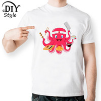 Awesome Funny Sushi T Shirts Octopus Cut Design Print T Shirt Comic Cartoon TShirt Men Novelty