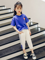 2019 Summer Sports Suit Toddler Girls Clothing Sets Kids Girl Clothes Set Child T shirts Tops +pant 2pcs Suit 10 12 14 Year Teen