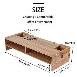 Image 2 - Wooden Monitor Laptop Stand Holder Riser Computer Desk Organizer Keyboard Mouse Storage Slots for Office Supplies School Teacher