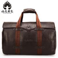 Brand Fashion Extra Large Weekend Duffel Bag Big Genuine Leather Business Men's Travel Bag Popular Design