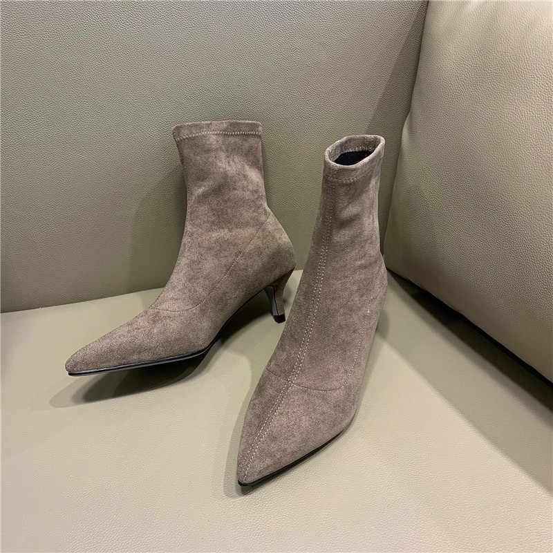 Kadın yarım çizmeler 22-24.5 cm uzunluk sonbahar ve kış sivri stiletto elastik pazen bayanlar çizmeler kadın + ayakkabı kadın 5 cm