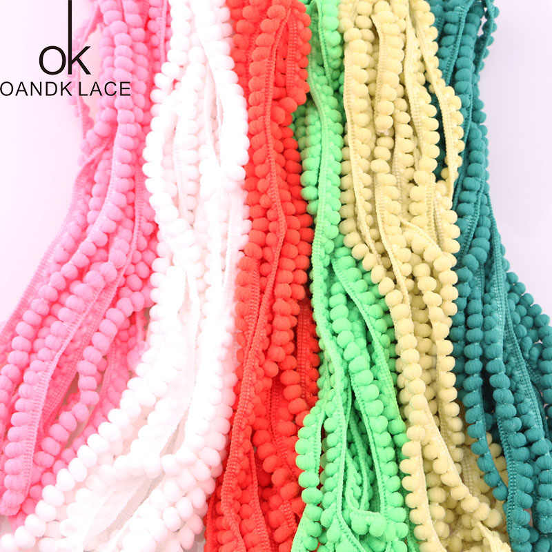 5 Yard Stained Ribbon Colorful Pom Pom Lace Trim Ball Fringe Lace Ribbon Knitting For Cloth or Bag DIY Sewing Accessories