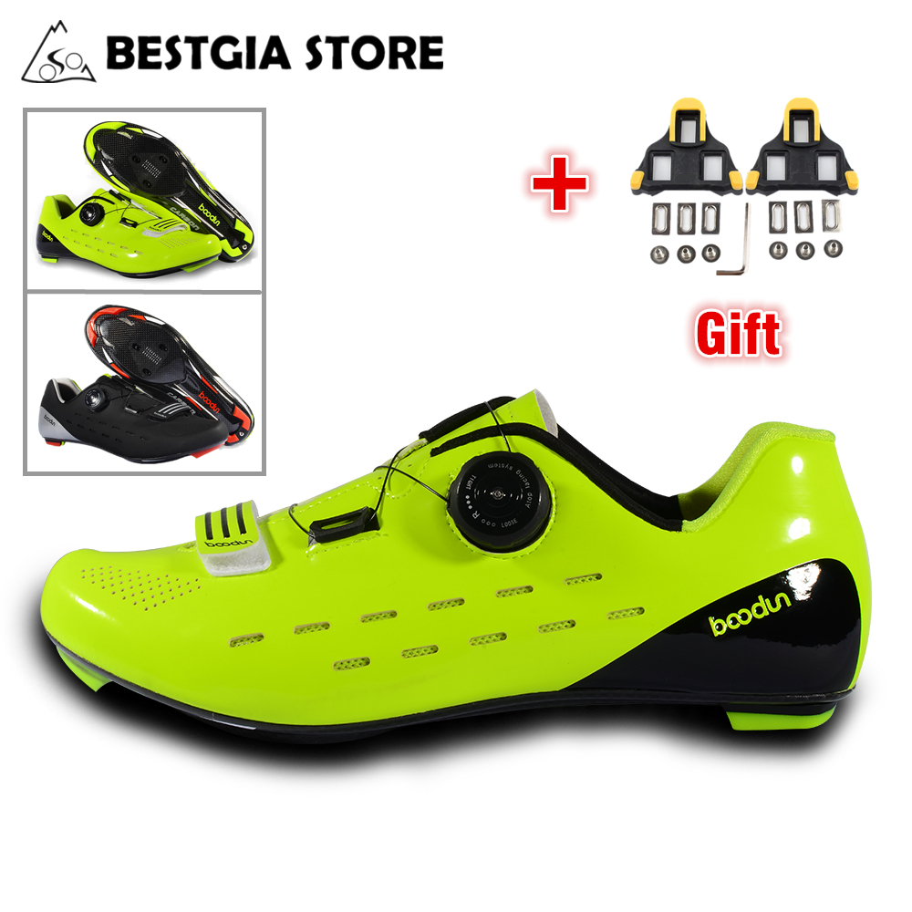 Boodun New Ultralight Carbon Fiber Road Cycling Shoes Men Pro Racing Bike Self-Locking Shoe Wear-resistant Non-slip Bicycle Shoe