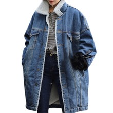 2017 Women Casual Denim Jacket Winter Long Sleeves Jeans Vintage Coat Parkas Loose Female Warm Outwear Thick Clothes D1