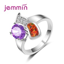Jemmin Women Sterling Silver Rings For Anniversary Engagement Jewelry Accessory Fine Blue Fire Opan Ring Bijoux Anillos Bague