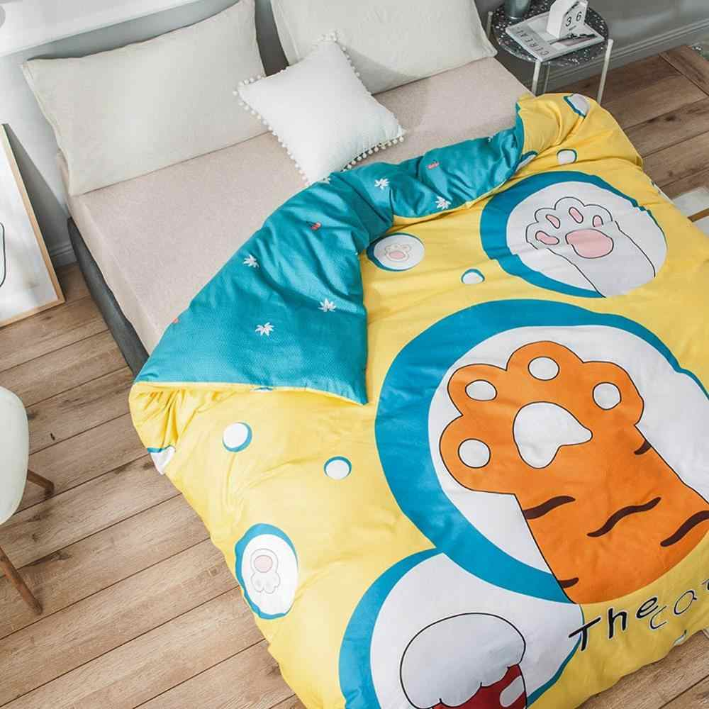 2019 Cartoon Yellow Cat Foot Duvet Cover Bed Cover Soft Cotton Twin Full Queen Size Bedlinens Quilt Cover Lid No Comforter
