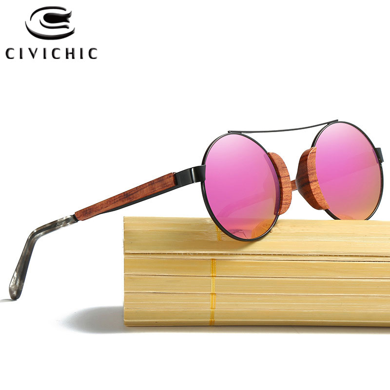 CIVICHIC Retro Wooden Polarized Round Sunglasses Men Bamboo Eyewear Women Brand Designer UV400 Mirror Filmed Lens Lunettes KD050-in Women's Sunglasses from Apparel Accessories