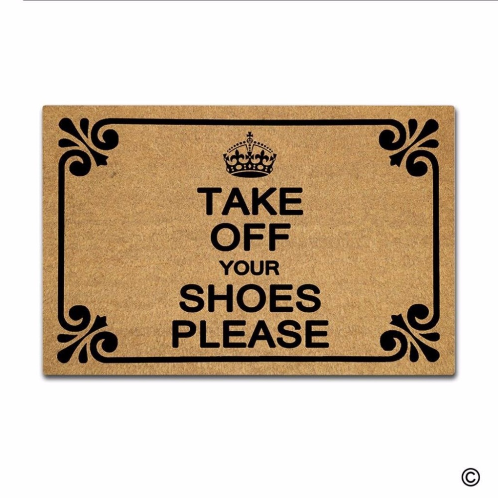 Funny Printed Doormat Entrance Mat Non slip Doormat Take Off Your Shoes Please Door Mat for Indoor Outdoor Use Non woven Fabr in Mat from Home Garden