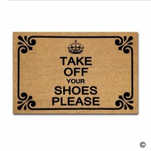 Funny Printed Doormat Entrance Mat - Non-slip Doormat- Take Off Your Shoes Please Door for Indoor/Outdoor Use Non-woven Fabr