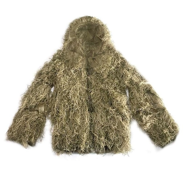 3D Withered Grass Ghillie Suit 4 PCS Sniper Military Tactical Camouflage Clothing Hunting Suit Army Hunting Clothes Birding Suit 3