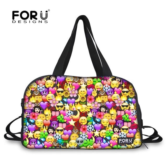 FORUDESIGNS Luggage Bag Women Travel Bag Emoji Duffel Large Capacity Female  Travel Duffle Bag Tote Canvas Weekend Bags Handbag 22b2ef44720d5