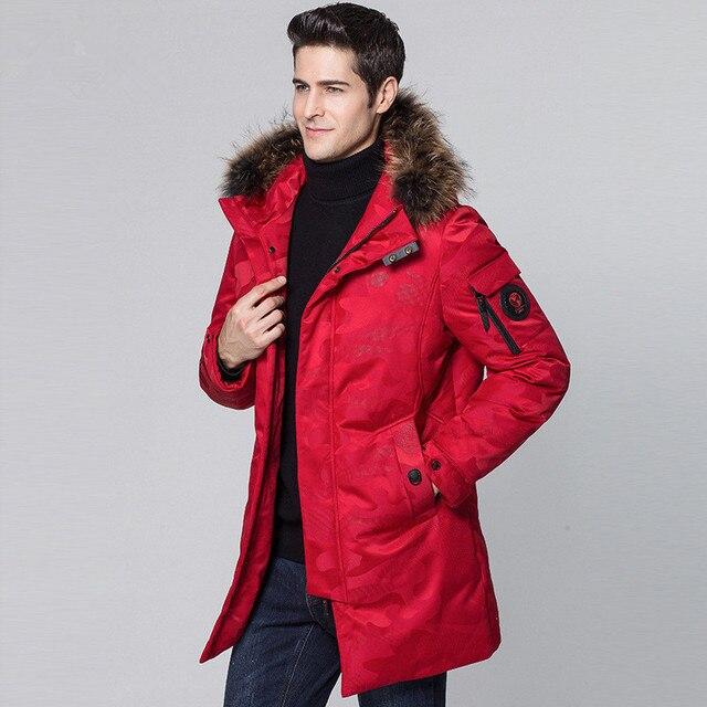 ee44344af7c43 Red/Black Down jacket camouflage 2018 Men's winter jacket Raccoon fur  collar thickening young men camouflage down jacket